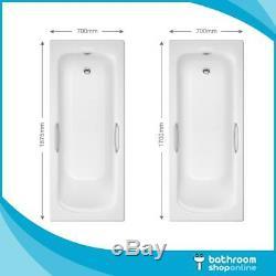 1675mm/1700mm Gripped Bath Heavy Duty White Acrylic Bath Anti Slip Base Drilled