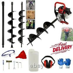 52cc Petrol Earth Auger 3HP Fence Post Hole Borer Ground Drill +3 Bits Extension