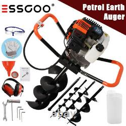 52cc Petrol Earth Auger Fence Post Hole Borer Ground 3 Drill Bits & Extensions