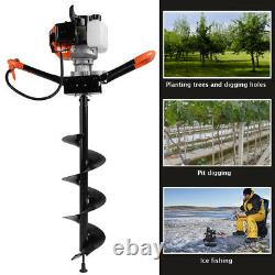 52cc Petrol Earth Auger Fence Post Hole Borer Ground Drill 3 Bits 1.4KW 1.90HP