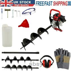 52cc Petrol Earth Auger Fence Post Hole Borer Ground Drill 3 Bits & Extension
