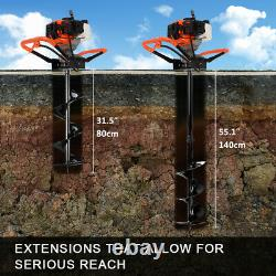 52cc Petrol Earth Auger Fence Post Hole Borer Ground Drill +3 Bits Extension New
