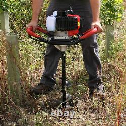 52cc Petrol Earth Auger Fence Post Hole Borer Ground Drill 3 Bits Extension Pole
