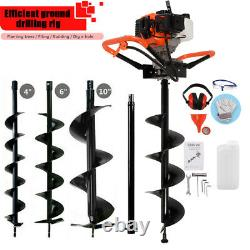 52cc Petrol Earth Auger Fence Post Hole Borer Ground Drill With 3 Bits Extension
