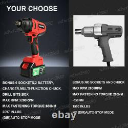 650Nm Cordless Impact Wrench, 1/2 Square Driver, 18V, 5Ah Batteries, Charger UK