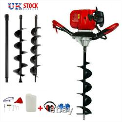 65cc Post Hole Digger Petrol Earth Auger Fence Ground Drill 3 Bits + Extension