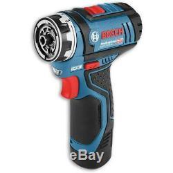 Bosch 12v FlexiClick Drill Driver + Chucks 2x Batteries & Case Kit GSR 12V-15 FC