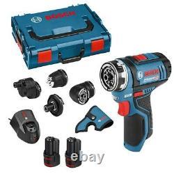 Bosch GSR 12V-15 FC Cordless FlexiClick Drill Driver Chucks 2x Batteries L-BOXX