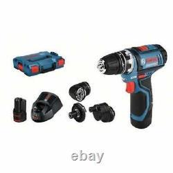 Bosch GSR12V-15 12v Flexi Click Drill Driver C/W 4 Chucks 2 x 2.0ah Batteries
