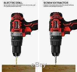 Cordless 20v Li Ion Hammer Drill & Impact Driver 2 x 4Ah Batteries Fast Charger