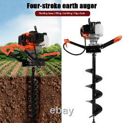 ESSGOO 52cc 2Stroke Petrol Earth Auger Fence Post Hole Digger 1.9HP 3 Drill Bits