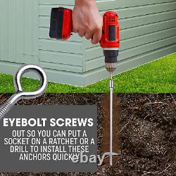 Earth Auger Shed Anchor Kit With Cordless Drill Heavy Duty Reusable Stake 18
