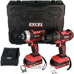Excel EXL5145 18V Impact Driver / Combi Drill + 2 x 2.0Ah Battery Charger & Case