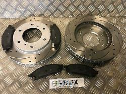 FITS Mitsubishi L200 2.5 DiD Front 294mm Drilled Grooved Brake Discs HEAVY DUTY