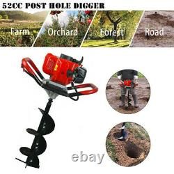 High-Efficiency Petrol Earth Auger 2 Cycle Post Hole Borer Ground Drill + Ext