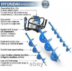 Hyundai Petrol Earth Auger Ground Drill Fence Post Hole Borer + 3 Bits HYEA5200X