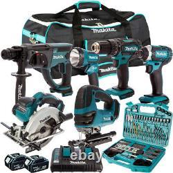Makita 18V 6 Piece Tool Kit with 2 x 5.0Ah Batteries Charger & 101Pcs Drill Set