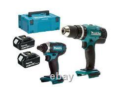 Makita DHP453Z 18v LXT Combi Drill + 2x BL1830 3ah Batteries + DTD152Z MAKPAC