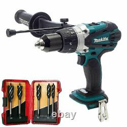 Makita DHP458Z 18V Li-ion Combi Hammer Drill with 5 Piece Auger Drill Bit Set