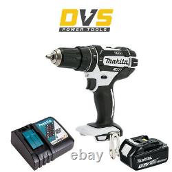 Makita DHP482ZW White 18V Cordless Combi Drill with BL1830 3 Ah Battery & Charger
