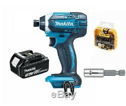Makita DTD152Z 18V Impact Driver + BL1830 Makita 3.0Ah Battery + Dewalt Bits + W