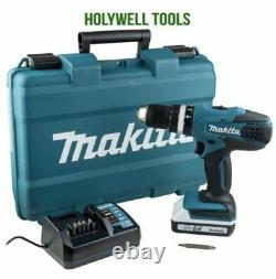 Makita HP457D 18v G-Series Cordless Combi Hammer Drill Driver charger and case