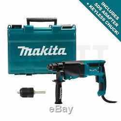 Makita HR2630 Rotary SDS Plus Hammer Drill 240v + SDS Adapter & Keyless Chuck