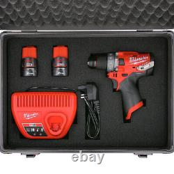 Milwaukee M12FPD 12V Combi Drill + 2 x M12B2, Charger & 70pc Acc. Set in Case