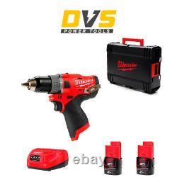 Milwaukee M12FPD-202X M12FPD-0 12V M12 FUEL Hammer Drill Driver 2x 2Ah Batteries