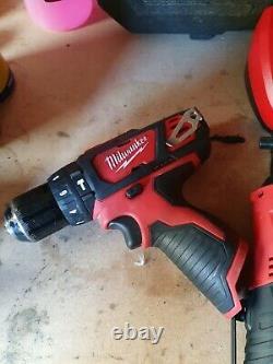 Milwaukee m12 12v Job Lot Drill Impact ratchet Batterys Charger tools cordless