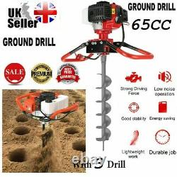 NEW 65CC Petrol Earth Auger Digger Fence Post Hole Borer + 3 Drills + Extension