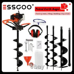 Petrol Earth Auger 1.9HP Fence Post Hole Borer Ground Drill 3Bits 52cc Extension