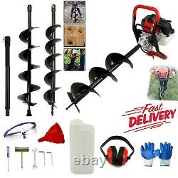 Petrol Earth Auger 3HP Fence Post Hole Borer Ground Drill 3 Bits 65cc Extension