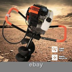 Petrol Earth Auger 52cc Fence Post Hole Borer Ground Drill 3 Bits & Extension UK