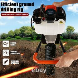 Petrol Earth Auger Digger Post Hole Borer Ground 52cc 3 Drill Bits Extension UK