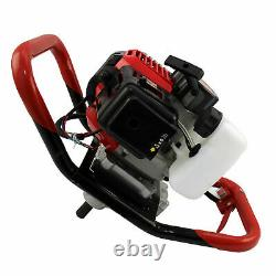 Petrol Earth Auger Fence Post Hole Borer Ground Drill 3 Bits Extension Pole 52cc