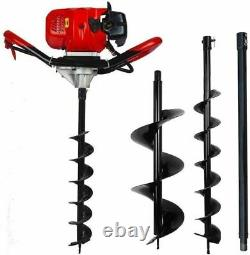 Petrol Earth Auger Fence Post Hole Borer Ground Drill 3 Bits Extension Pole 65CC