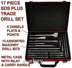SDS Plus Rotary Hammer Drill 240V 3 Mode Chisel Action Breaker & SDS Set