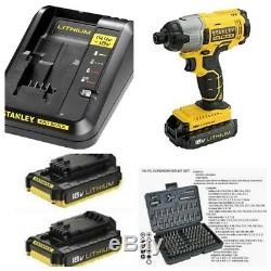 Stanley Fatmax 18v Impact Driver X2 Batteries Fast Charger In Heavy Duty Casef