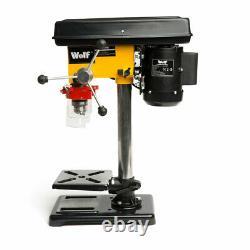 Wolf 9 Speed Pillar Drill 16mm Chuck 500w Motor Press Bench Top Mounted Drilling